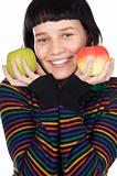 A pretty woman holding  apples