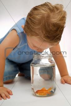Boy todder looking at fish