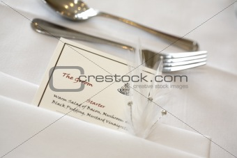 The bridegroom's place setting