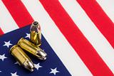 bullets over US flag