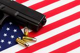 gun over american flag