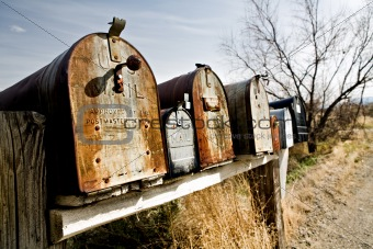Old mailboxes in Midwest USA