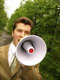 businessman shouts