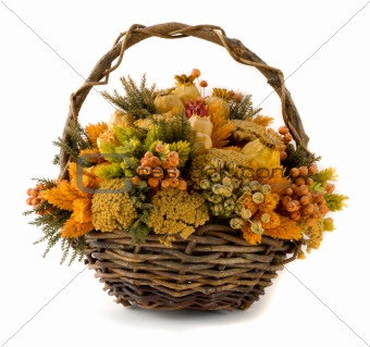 Arrangement of dried flowers in a basket