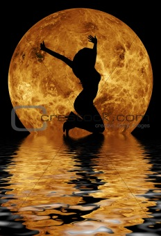 dancing girl in front of moon