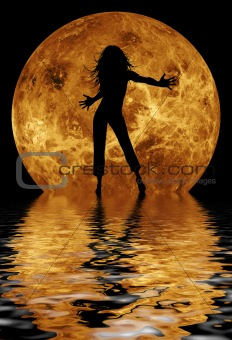 dancing girl in front of moon