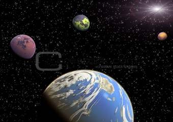 Planets in a space.