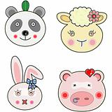 Vectors cute animals face