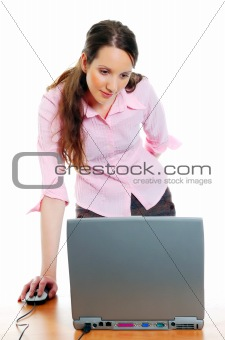 attractive young woman working on the computer
