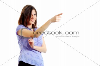 attractive young woman pointing to something