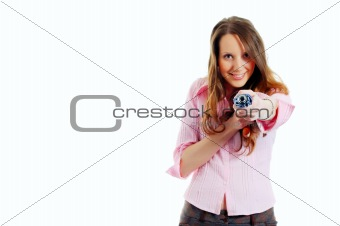 attractive young woman shooting with umbrella (focus on hand)
