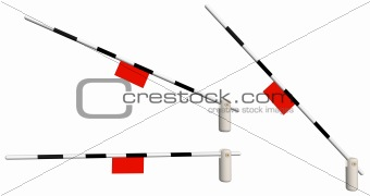Three railway 3d barriers