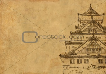 Background with ancient Japanese house