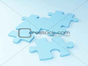 Five parts of a puzzle of blue color