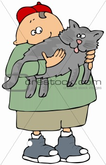 Boy Holding A Gray Cat