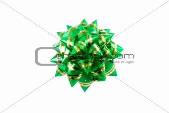Green bow   isolated on white background