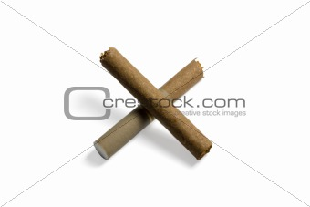 Cigarette forming cross.