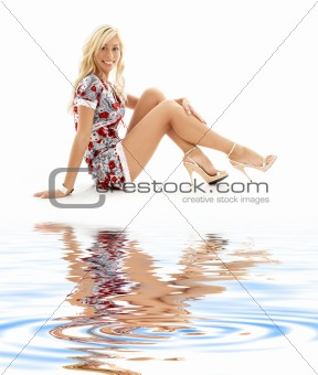 classical pin-up blonde on white sand #3