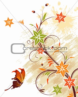 Grunge flower background