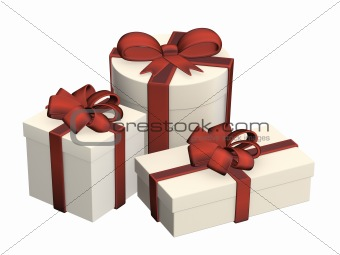 Three boxes with gifts, fastened by tapes