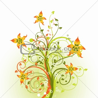 Grunge floral background, vector