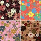 Retro floral pattern, seamless, vector