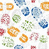 Seamless pattern, prints of foots of the child, vector