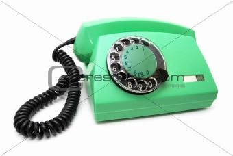 Green telephone with a disk