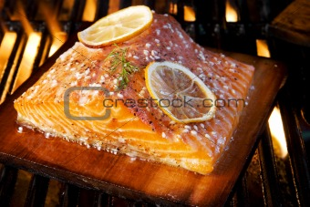 Grilled Salmon On Cedar Board