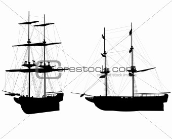 OLD SHIPS SILHOUETTES