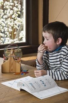 Boy doing homework at dinning table