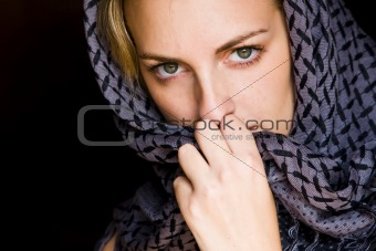 Green eyed woman in arabic style