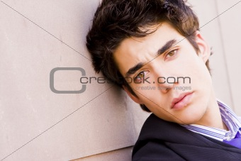 Attractive man on wall