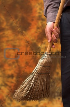 Business broom sweeps clean