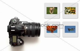 Modern slr camera isolated with colour slides