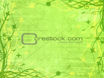 Green frame with floral patterns