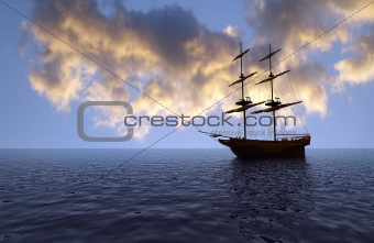 old ship over the ocean at sunset
