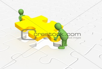 3d puppets installing yellow part puzzle