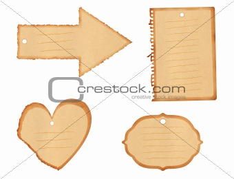 Blank Paper Tags - 4 various shapes