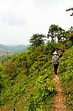 Travellers hiking in jungle mountains in northern Thailand