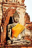 Anciant buddhist temple ruins in Ayuttaya, Thailand