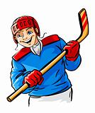 vector boy character playing hockey sport game