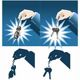Businessman hand holding car and house keys