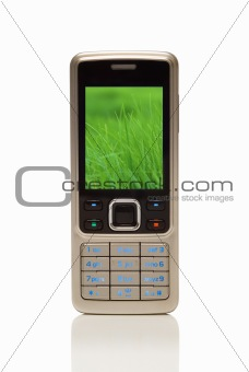 Cellphone with environmental grass on screen