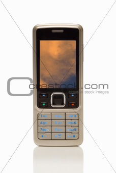Cellphone with environmental orange cloud on screen
