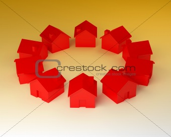 circle of red house