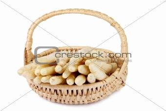 Asparagus in a little basket