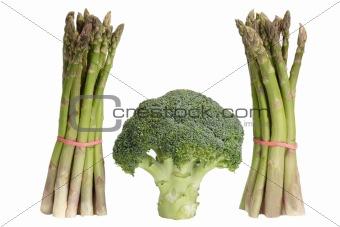 Green asparagus with broccoli