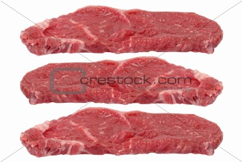 Three rump steaks