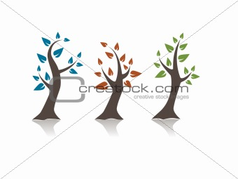 Three abstract trees with reflection